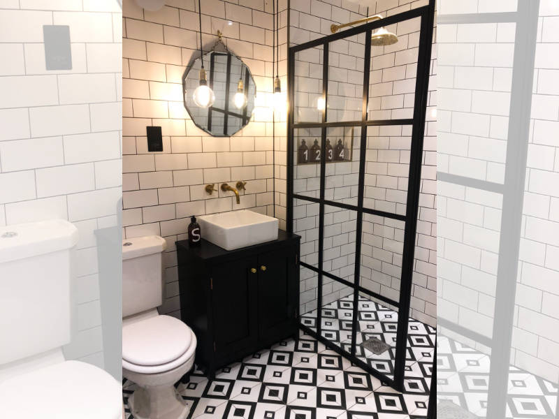 Bespoke bathroom with patterned floor tiles